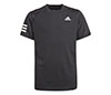 adidas Boys Club 3 Stripe Tee (Black)