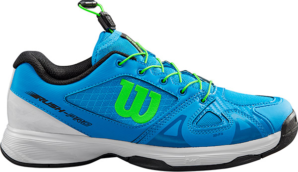 3.5 Wilson RUSH PRO JR QL Tennis Shoes Brilliant Blue//White//Green Gecko