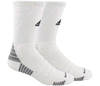 adidas Alphaskin Max Cushioned Crew-Large (1x) (White)